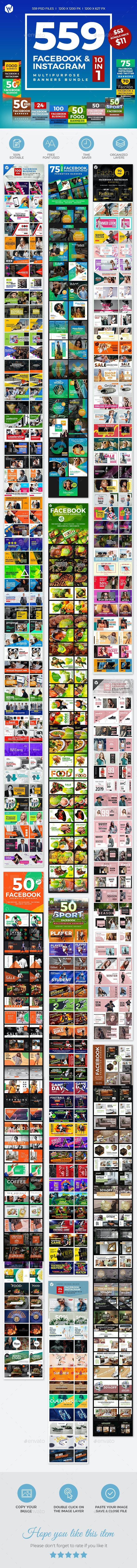 559 Facebook & Instagram Banner Bundle - Social Media Web Elements