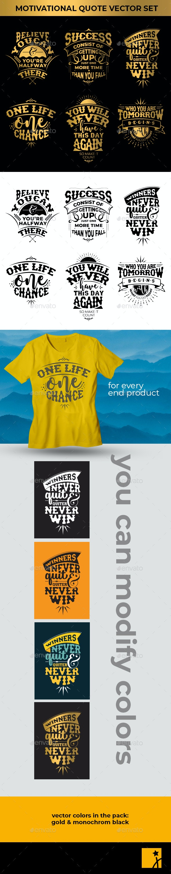 6 Motivational Quote Vector Set - Miscellaneous Seasons/Holidays