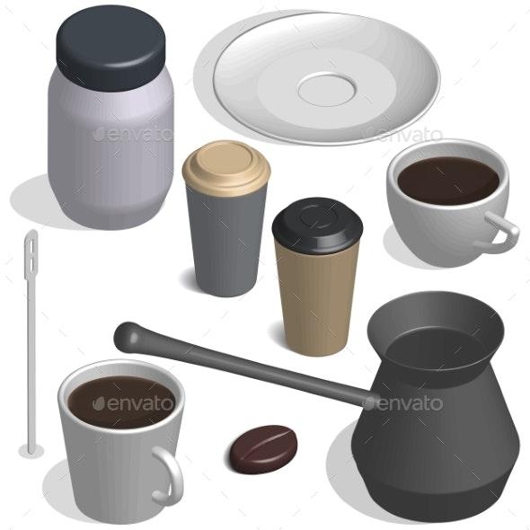 Coffee Set in 3D - Food Objects