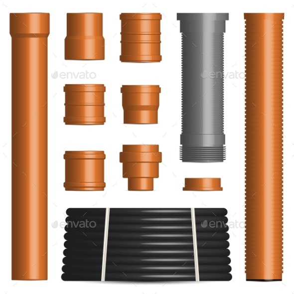 Set of Various Plastic Pipes and Connectors - Man-made Objects Objects