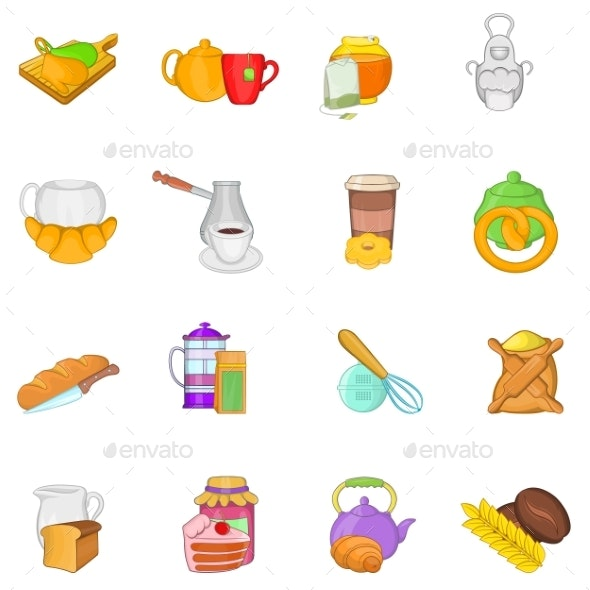 Tea Food Icons Set Cartoon Style - Food Objects