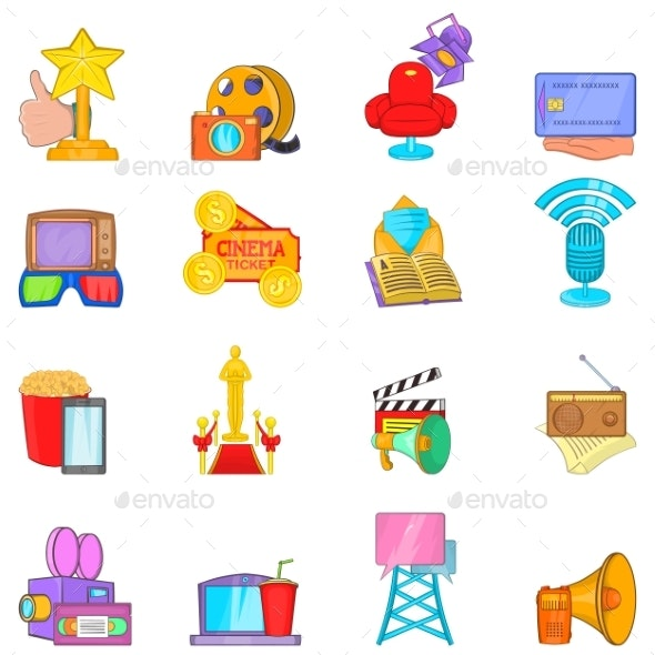 Home Entertainment Icons Set Cartoon Style - Man-made Objects Objects