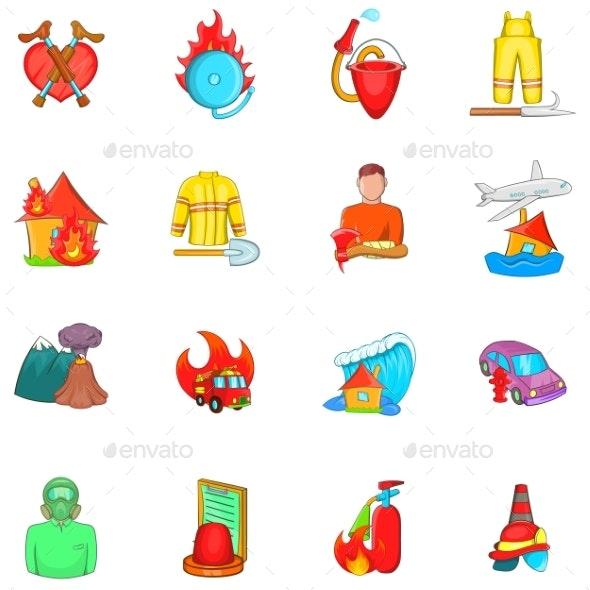 Rescue Service Icons Set Cartoon Style - Miscellaneous Conceptual