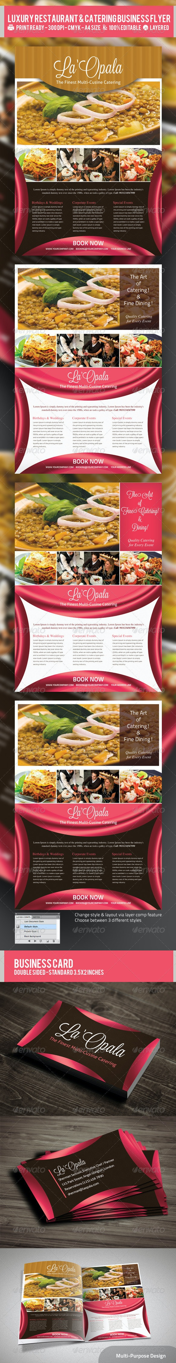 Luxury Restaurant & Catering Flyer PSD Template - Industry Specific Business Cards