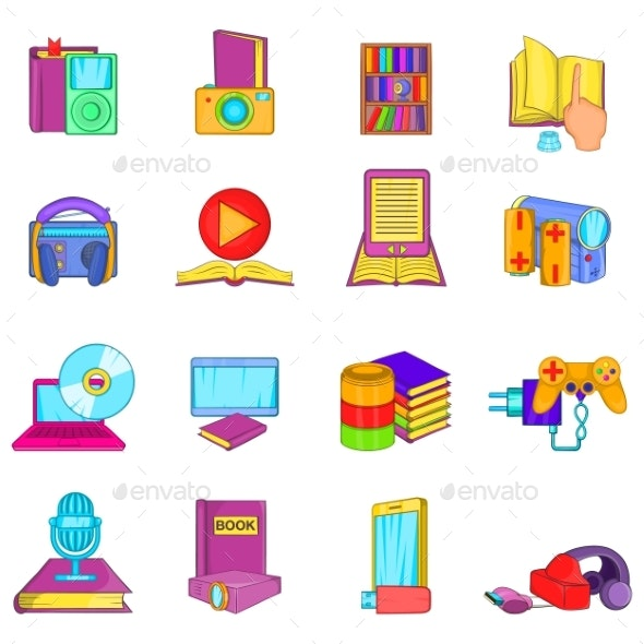 Obtaining Information Icons Set Cartoon Style - Miscellaneous Vectors