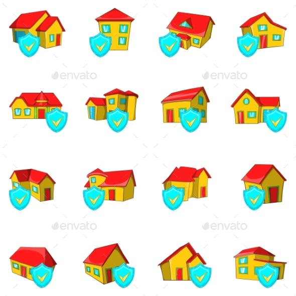 Protect House Icons Set Cartoon Style