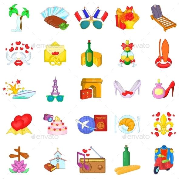 Honeymoon Trip Icons Set Cartoon Style - Miscellaneous Seasons/Holidays