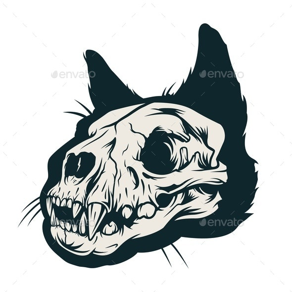 Vintage Cat Skull - Animals Characters