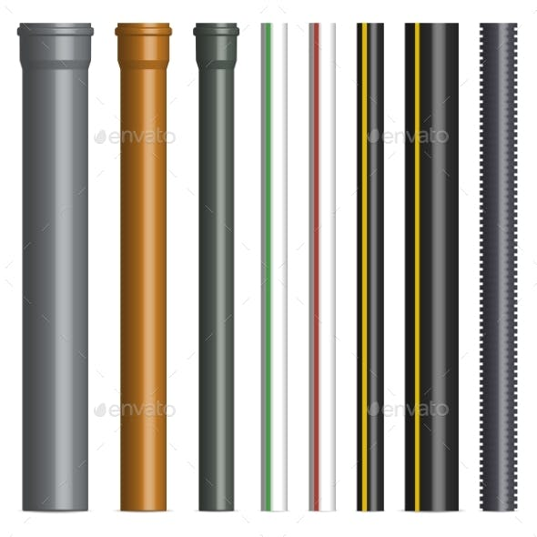 Set of Various Plastic Pipes Vector Illustration