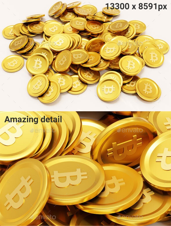 Golden Bitcoin Pile - Objects 3D Renders