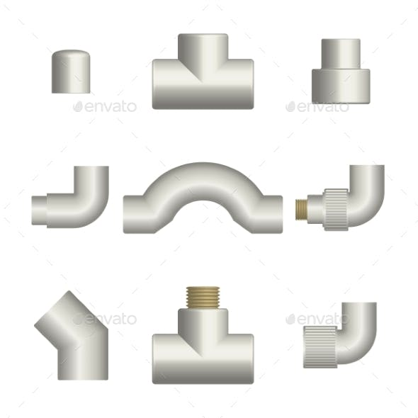 Set of Fittings and Connections for Plastic Pipes