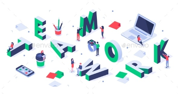 Isometric Teamwork Lettering Creative Team - Concepts Business