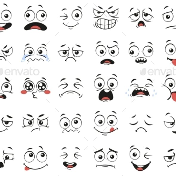 Cartoon Faces Expressive Eyes and Mouth Smiling