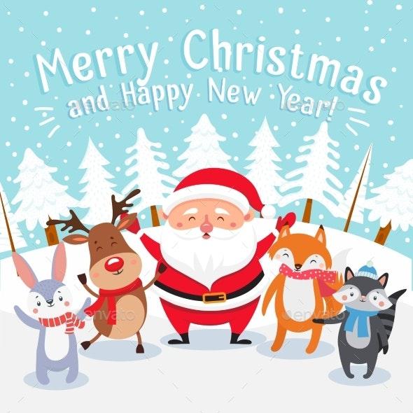 Christmas Cartoon Images Clip Art.Merry Christmas Cartoon Greeting Card