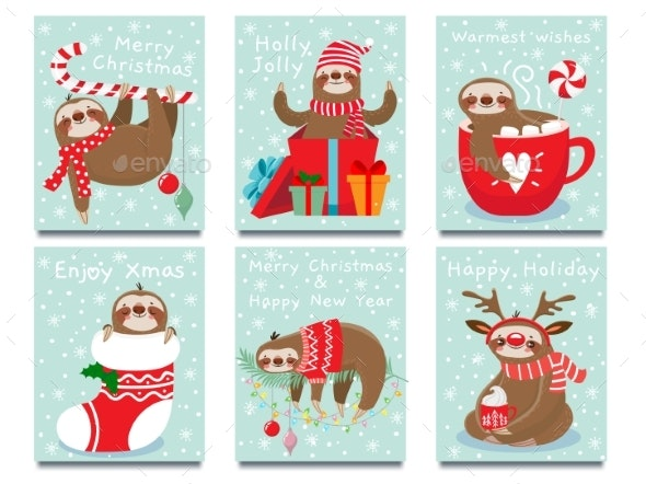 Merry Christmas Lazy Sloth - Miscellaneous Seasons/Holidays
