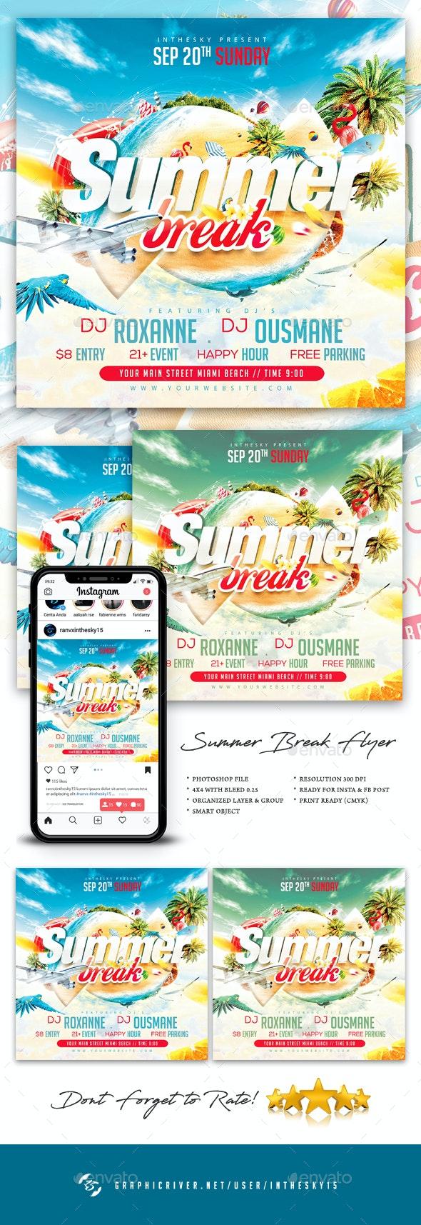 Summer Break Flyer - Clubs & Parties Events