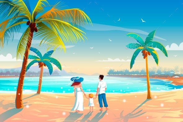Back View of a Happy Family on Tropical Beach - People Characters