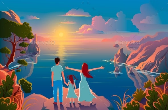 Family Stand on the Edge of a Cliff - People Characters