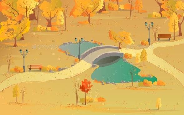 Autumn Landscape Path in the Forest with a Bridge - Landscapes Nature