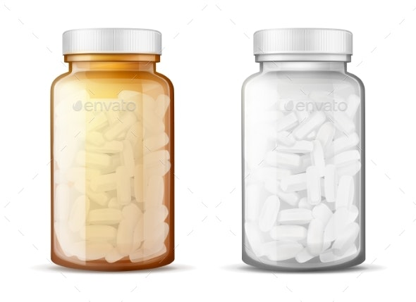 Glass Bottles with Pills Realistic Vector Mock-Up - Man-made Objects Objects