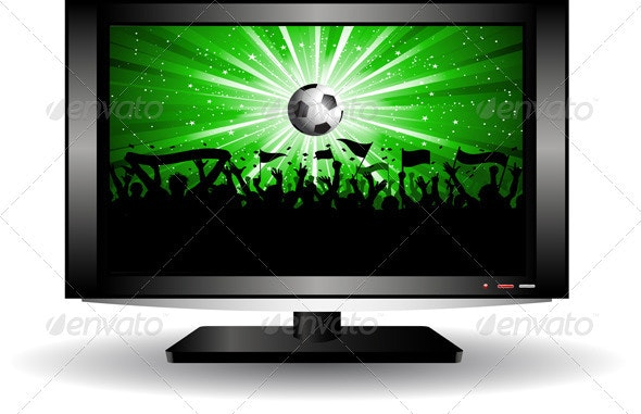 Football crowd on a TV screen