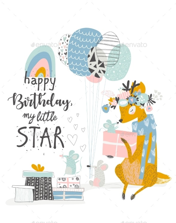 Greeting Birthday Card with Deer and Mouses - Birthdays Seasons/Holidays