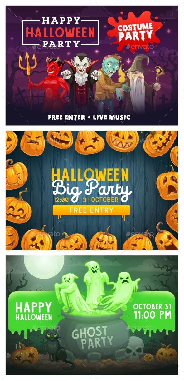 Halloween Party Pumpkin Ghosts and Monsters - Halloween Seasons/Holidays