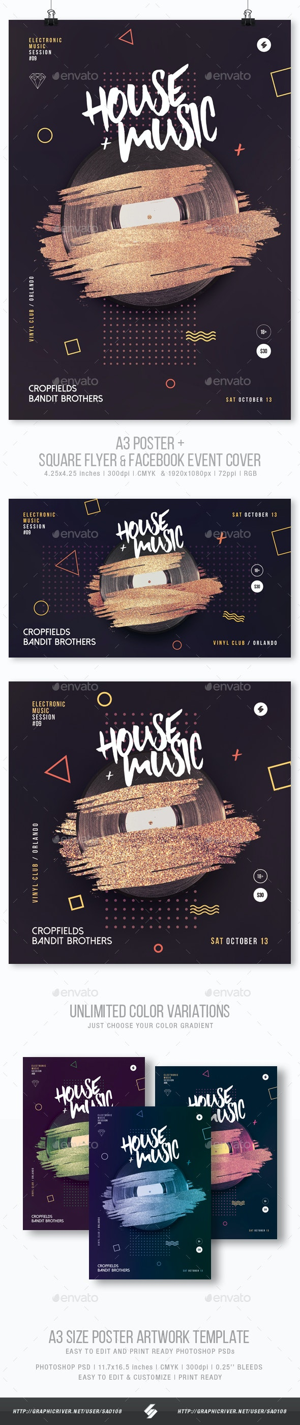House Music vol.2 - Club Party Flyer / Poster Template A3 - Clubs & Parties Events