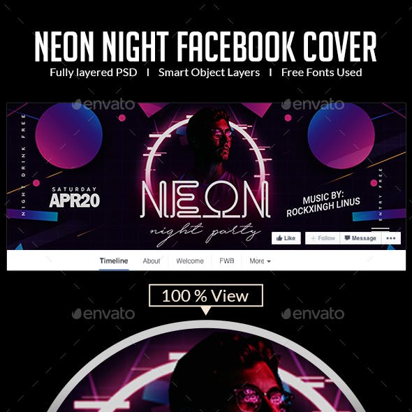 Neon Night Out | Facebook Cover