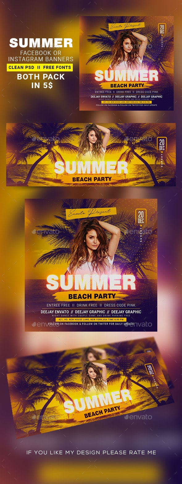 Summer Night Instagram Banner & Facebook Cover - Banners & Ads Web Elements