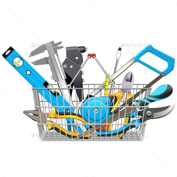 Vector Supermarket Basket with Hand Tools