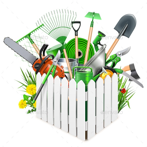 Vector White Wooden Fence with Garden Accessories - Miscellaneous Vectors