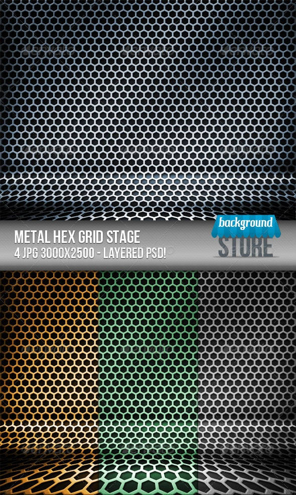 Metal Hex Grid Stage - Tech / Futuristic Backgrounds