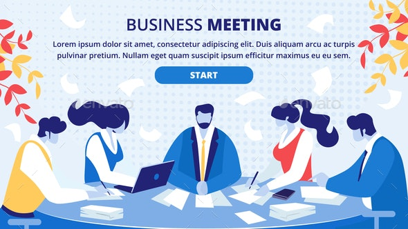 Business Partners Office Meeting Vector Website - Concepts Business