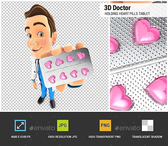 3D Doctor Holding Heart Pills Tablet - Characters 3D Renders
