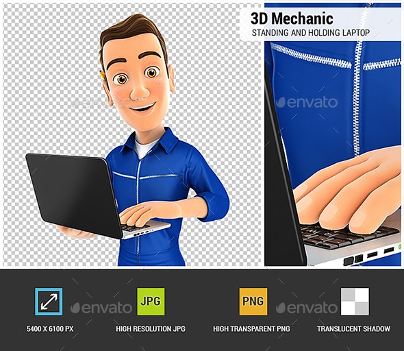 3D Mechanic Standing and Holding Laptop - Characters 3D Renders