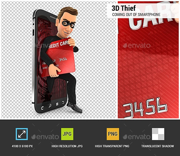 3D Thief Coming Out of Smartphone with Credit Card - Characters 3D Renders