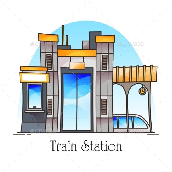 Train Station or Railway Railroad Platform - Miscellaneous Vectors