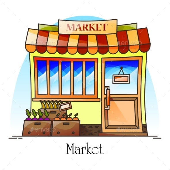 Food Market or Bazaar with Grocery Food Store - Buildings Objects