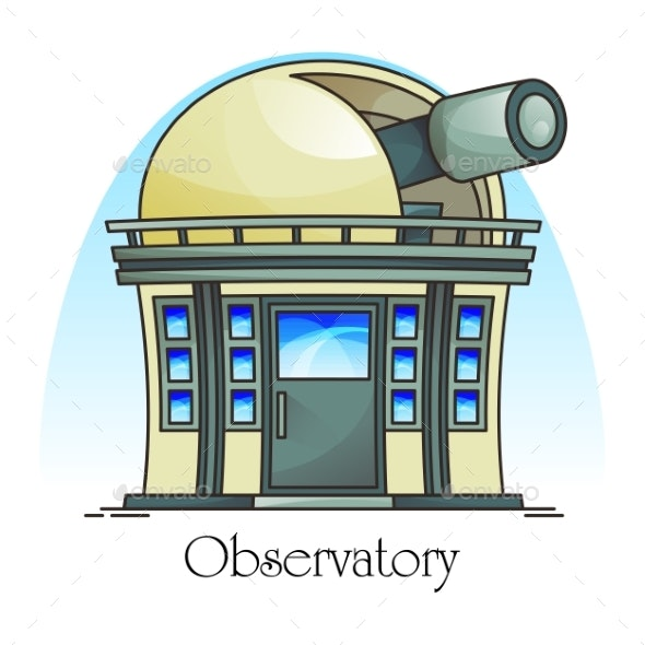 Planetarium Building with Telescope in Dome - Buildings Objects