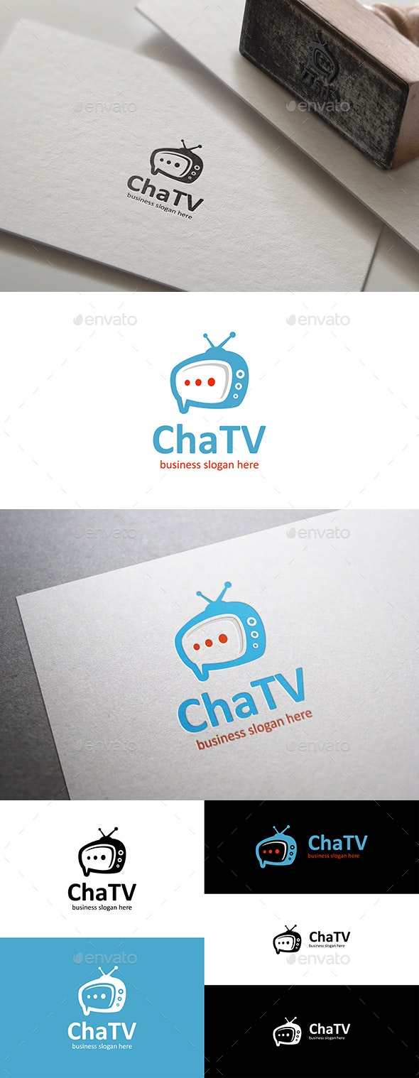Chat Tv Logo Template with Speech Bubble - Objects Logo Templates