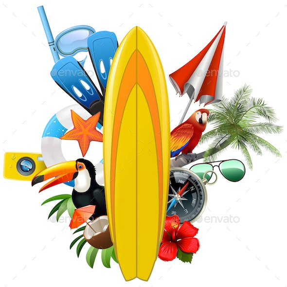 Vector Tropical Concept with Surfboard - Sports/Activity Conceptual