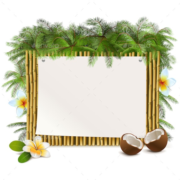 Vector Tropical Yellow Bamboo Frame - Flowers & Plants Nature