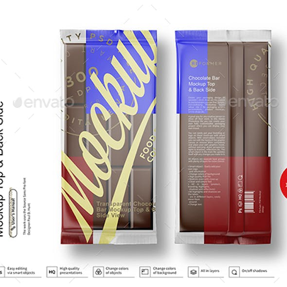 Transparent Chocolate Bar Mockup Top & Back Side
