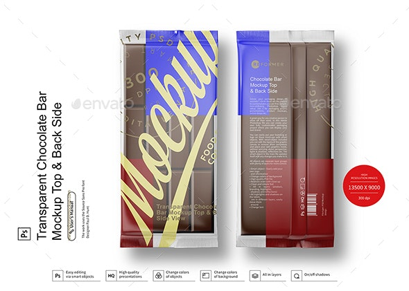Transparent Chocolate Bar Mockup Top & Back Side - Food and Drink Packaging