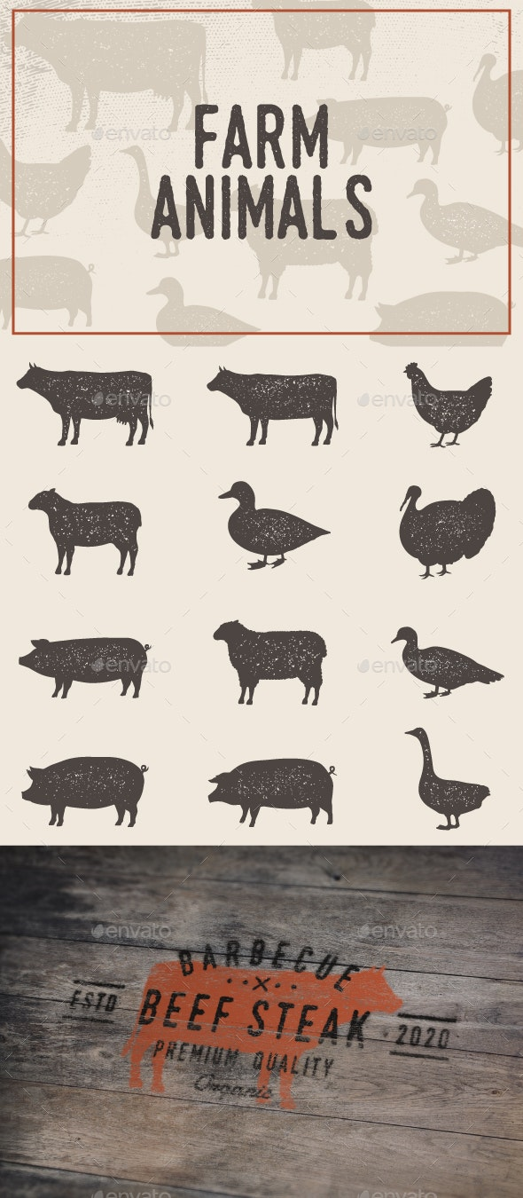Vintage Farm Animals Set - Animals Characters