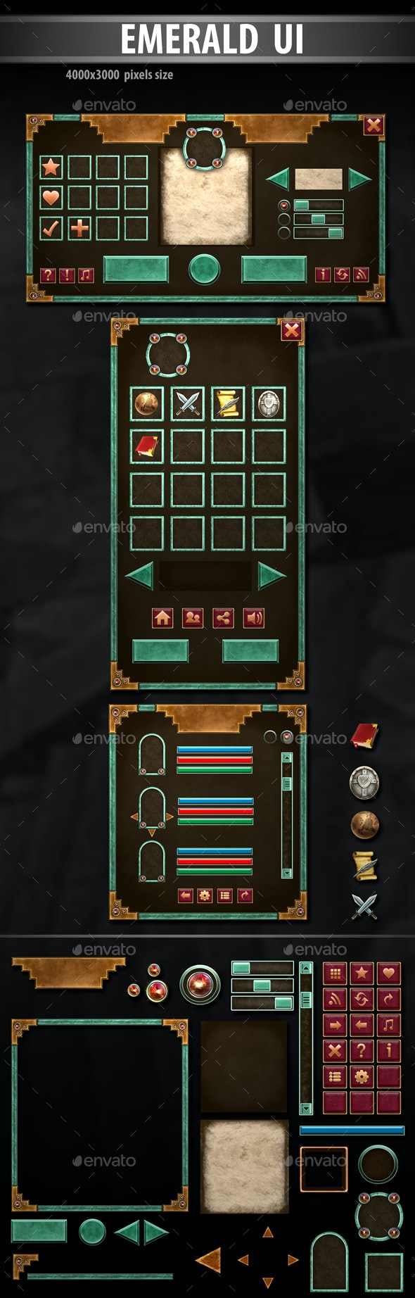 Emeral UI - User Interfaces Game Assets