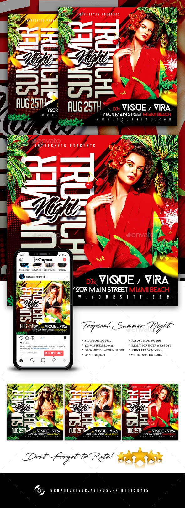 Tropical Summer Night Flyer - Clubs & Parties Events