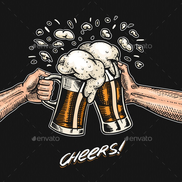 Cheers Toast Beer in Hand Vintage Alcoholic - Miscellaneous Vectors