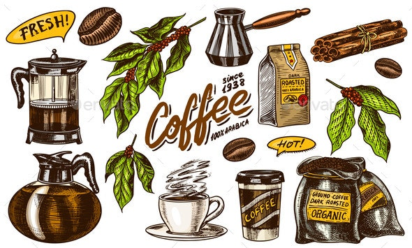 Coffee in Vintage Style - Food Objects